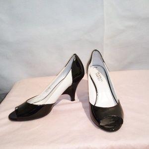 Franco Sarto White And Black Peep Toe Heels